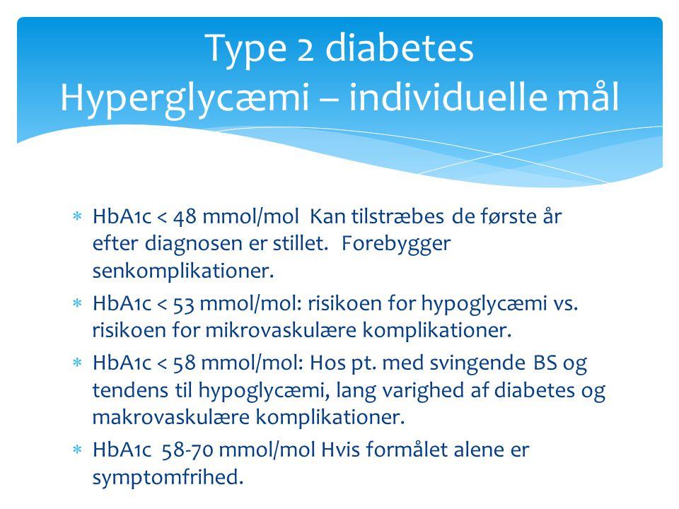 Type 2 diabetes Hyperglycæmi – individuelle mål
