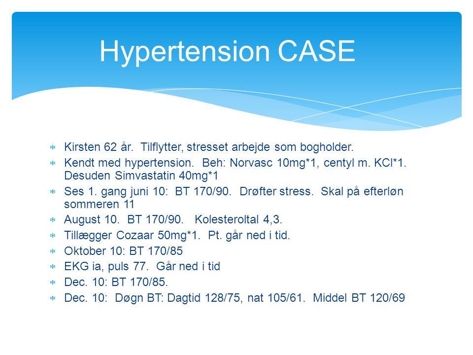Hypertension CASE Kirsten 62 år. Tilflytter, stresset arbejde som bogholder.