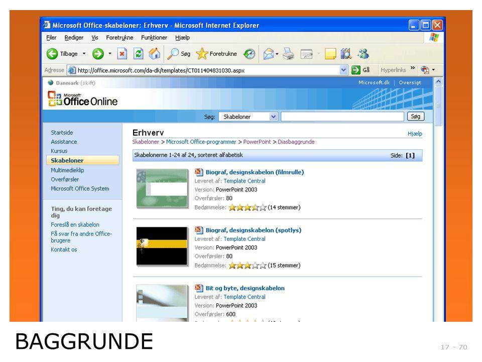 Microsoft Officeonline. Der kan hentes mange rigtig gode baggrunde.