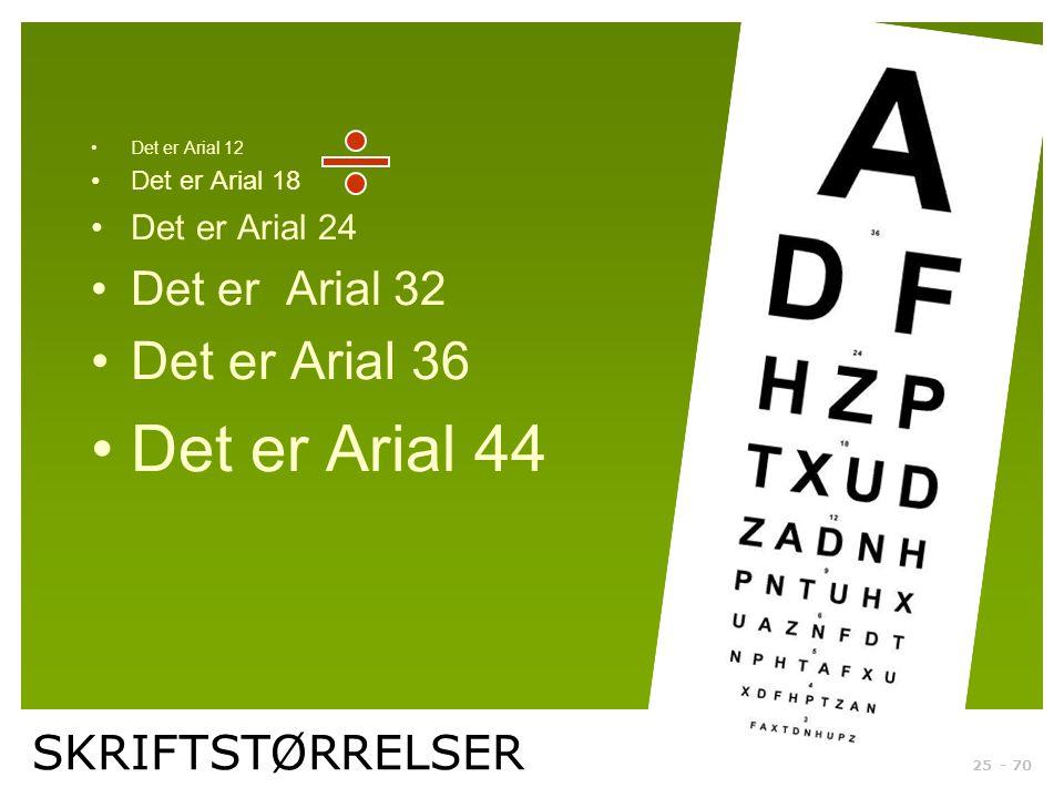 Det er Arial 44 Det er Arial 36 Det er Arial 32 SKRIFTSTØRRELSER