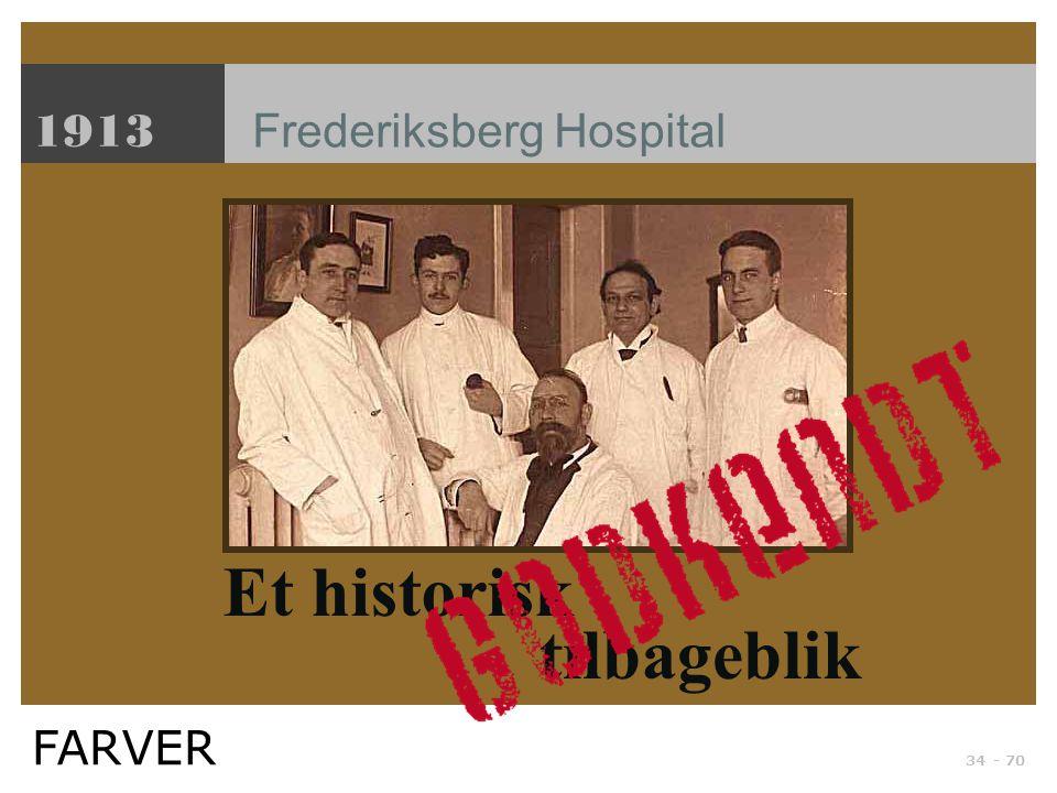 1913 Frederiksberg Hospital Et historisk tilbageblik FARVER