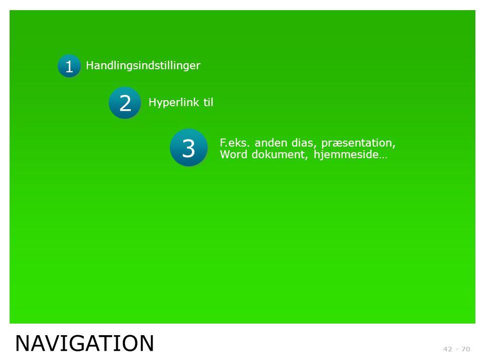 3 2 NAVIGATION 1 Handlingsindstillinger Hyperlink til