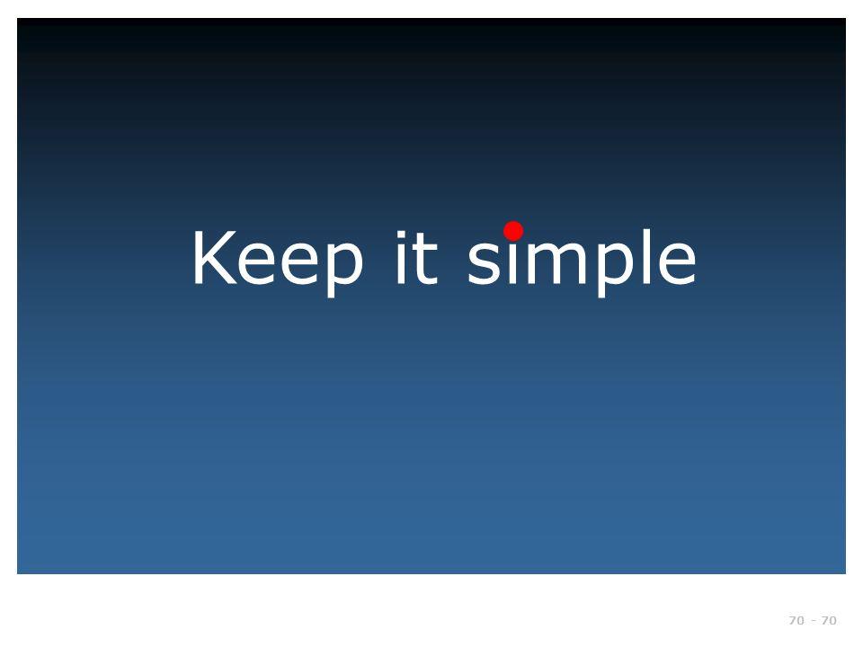 Keep it simple Gør det enkelt. Nogle siger faktisk at de bedste dias er dem uden tekst.