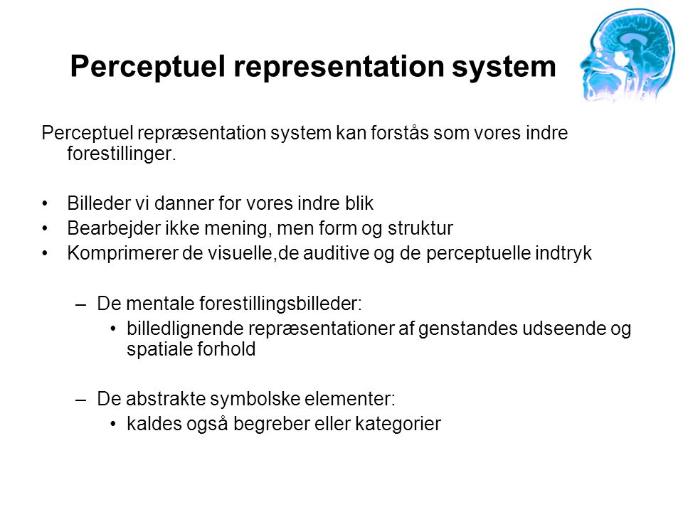 Perceptuel representation system