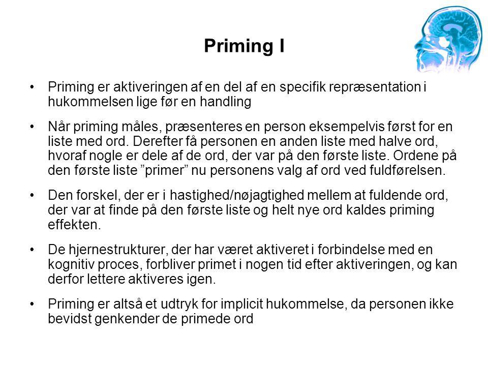 Priming I Priming er aktiveringen af en del af en specifik repræsentation i hukommelsen lige før en handling.