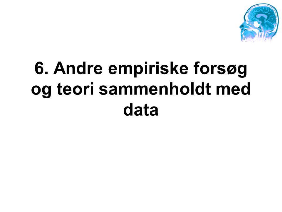 6. Andre empiriske forsøg og teori sammenholdt med data