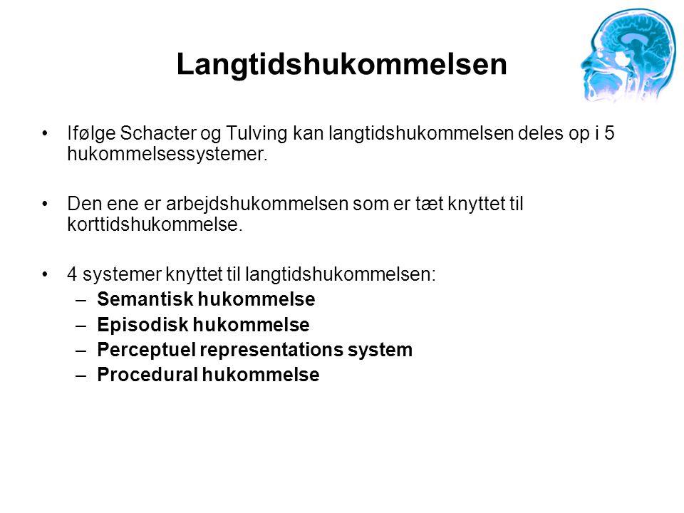 Langtidshukommelsen Ifølge Schacter og Tulving kan langtidshukommelsen deles op i 5 hukommelsessystemer.