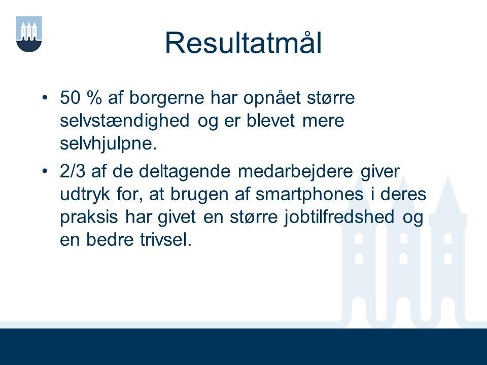 Resultatmål 50 % af borgerne har opnået større selvstændighed og er blevet mere selvhjulpne.