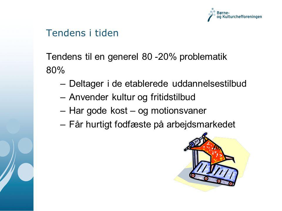 Tendens i tiden Tendens til en generel 80 -20% problematik. 80% Deltager i de etablerede uddannelsestilbud.