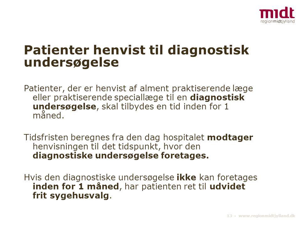 Patienter henvist til diagnostisk undersøgelse