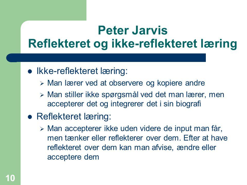 Peter Jarvis Reflekteret og ikke-reflekteret læring