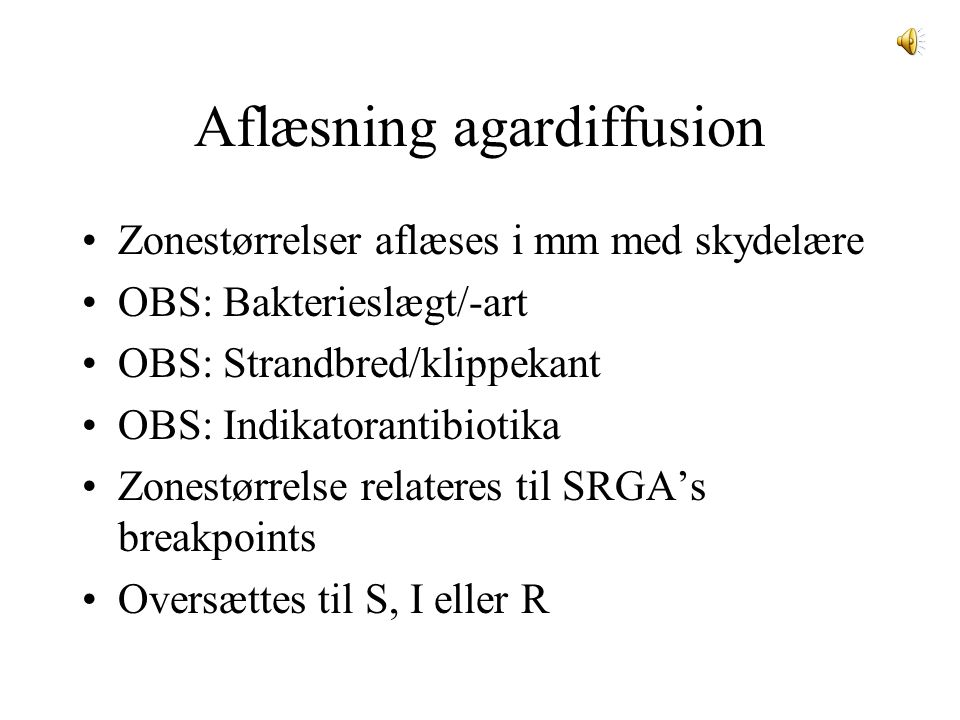 Aflæsning agardiffusion