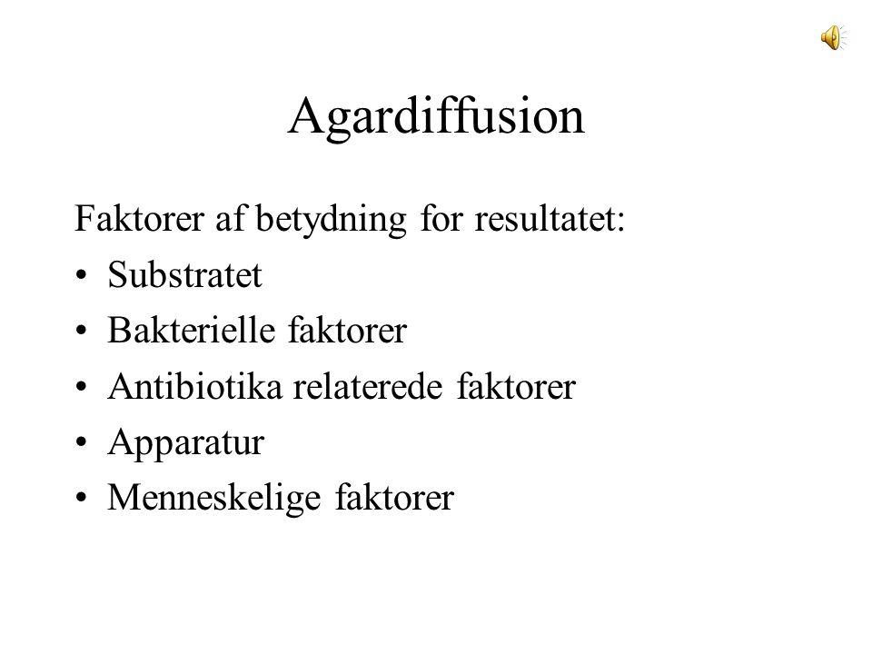 Agardiffusion Faktorer af betydning for resultatet: Substratet