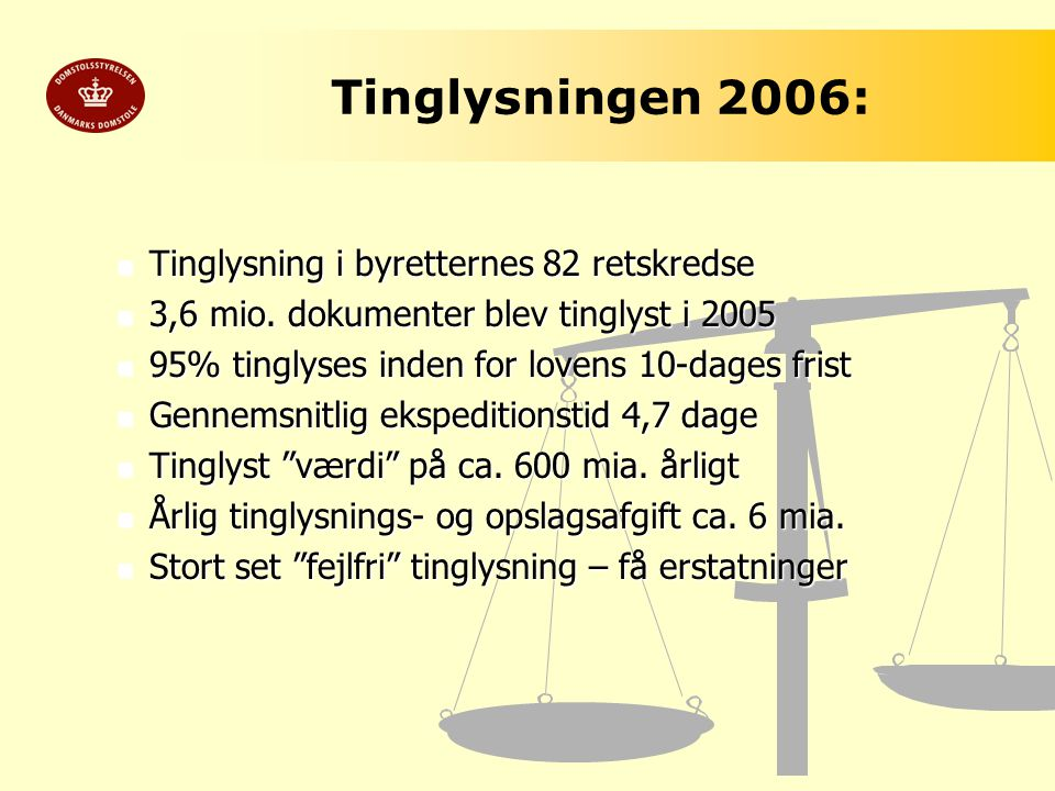 Tinglysningen 2006: Tinglysning i byretternes 82 retskredse