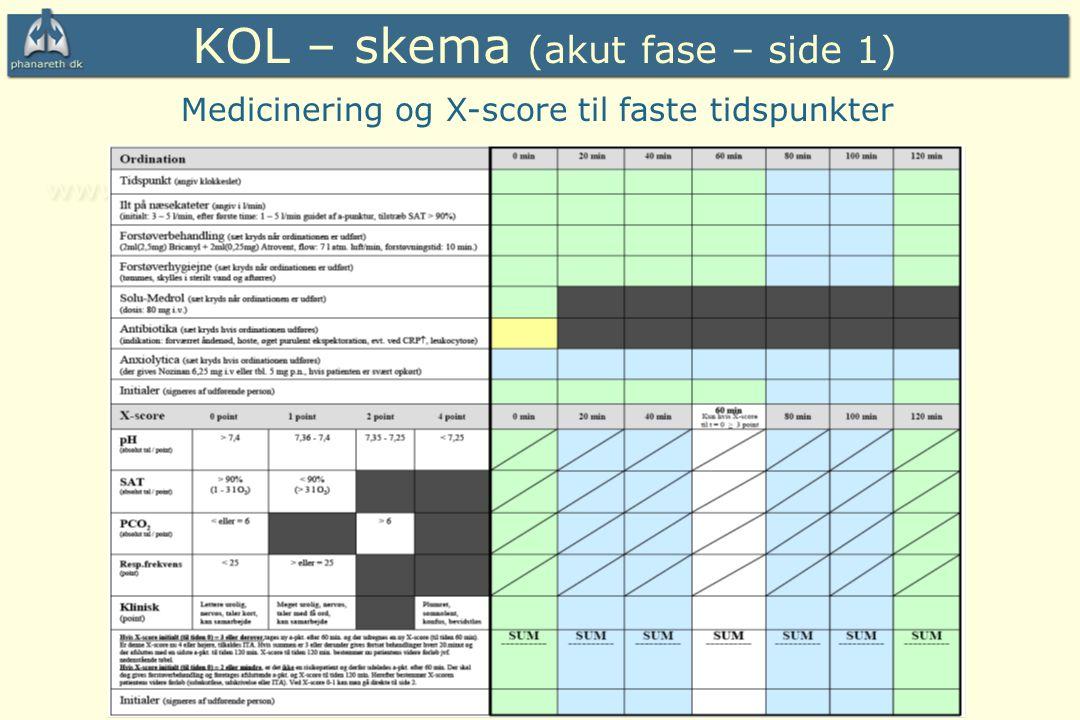 KOL – skema (akut fase – side 1)