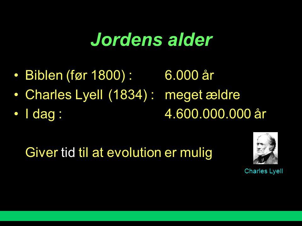 Jordens alder Biblen (før 1800) : 6.000 år