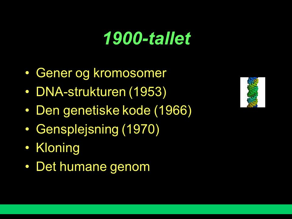 1900-tallet Gener og kromosomer DNA-strukturen (1953)