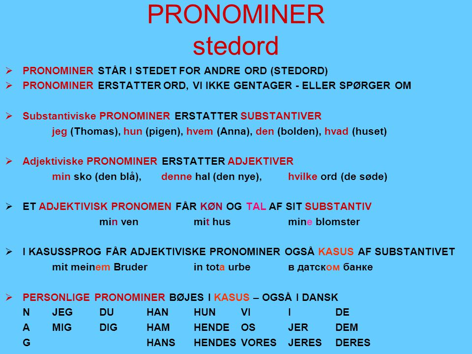 PRONOMINER stedord PRONOMINER STÅR I STEDET FOR ANDRE ORD (STEDORD)