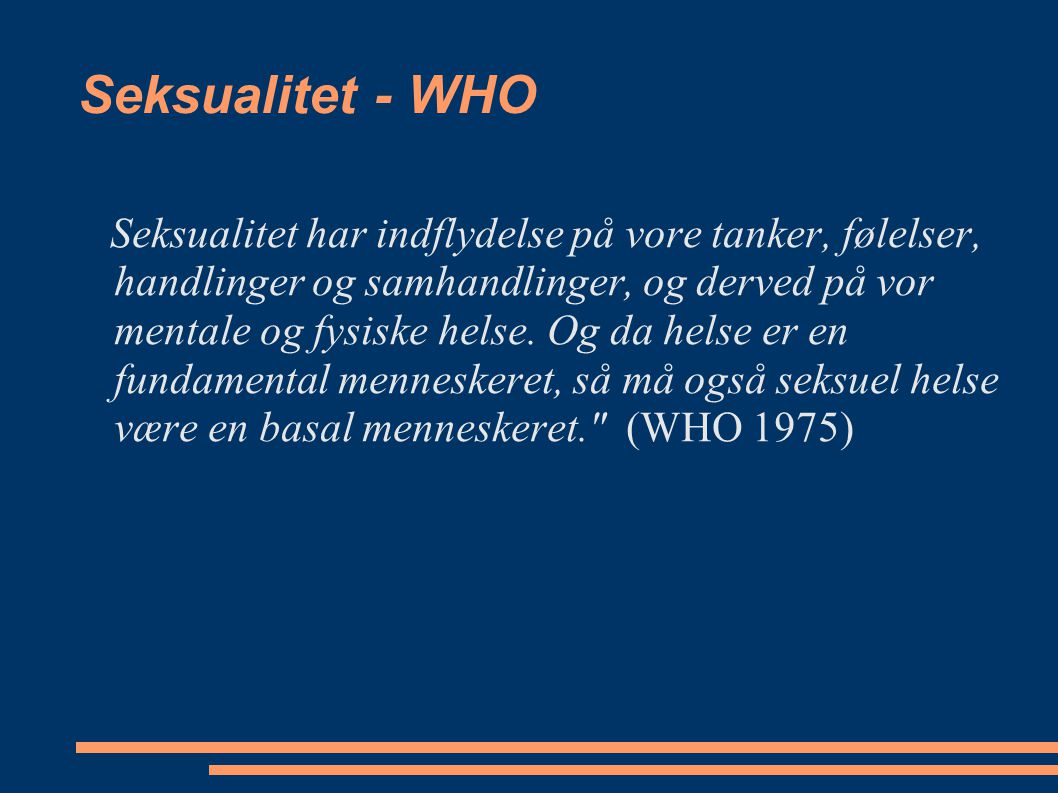 Seksualitet - WHO