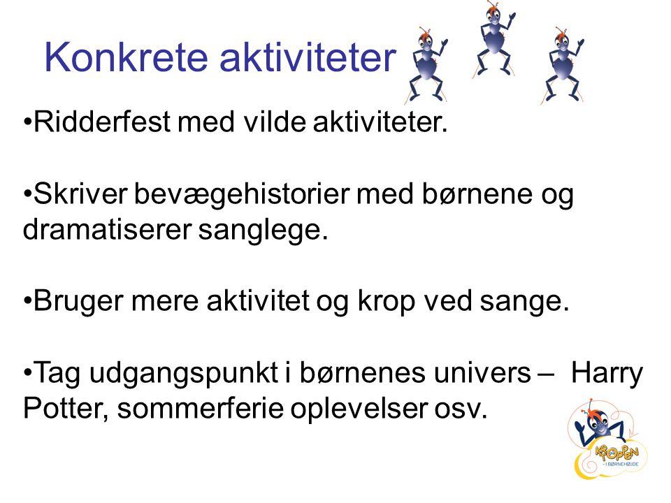 Konkrete aktiviteter Ridderfest med vilde aktiviteter.