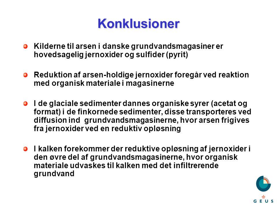 Konklusioner Kilderne til arsen i danske grundvandsmagasiner er hovedsagelig jernoxider og sulfider (pyrit)