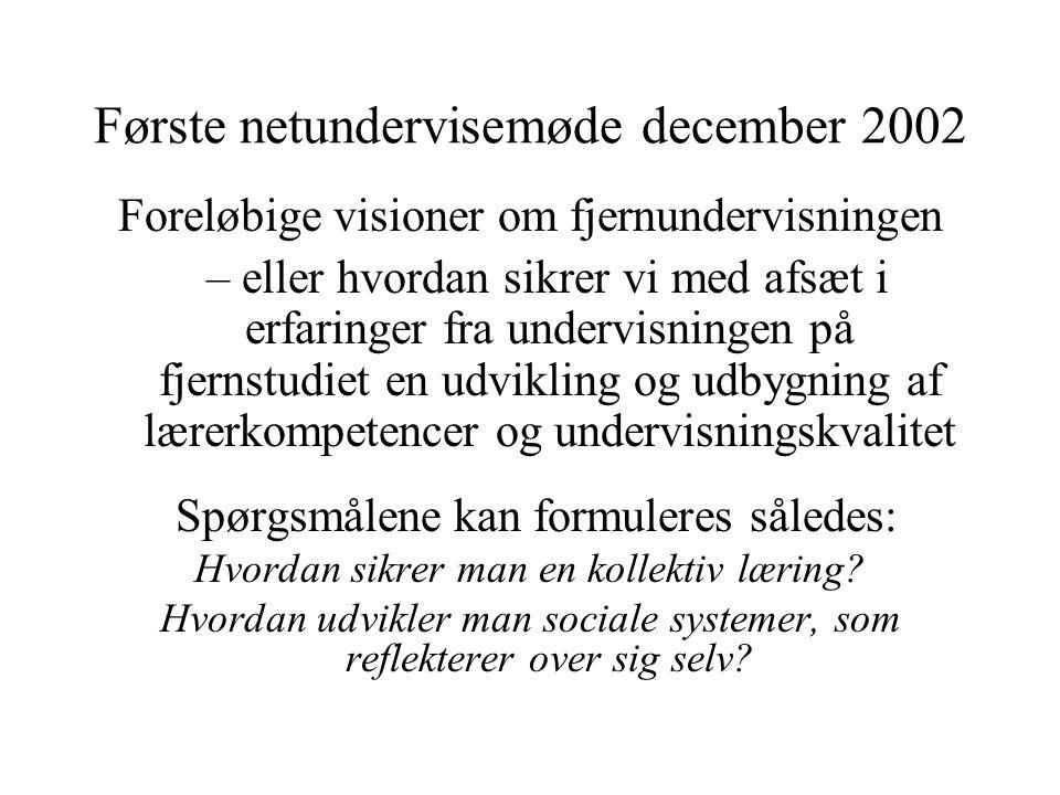 Første netundervisemøde december 2002