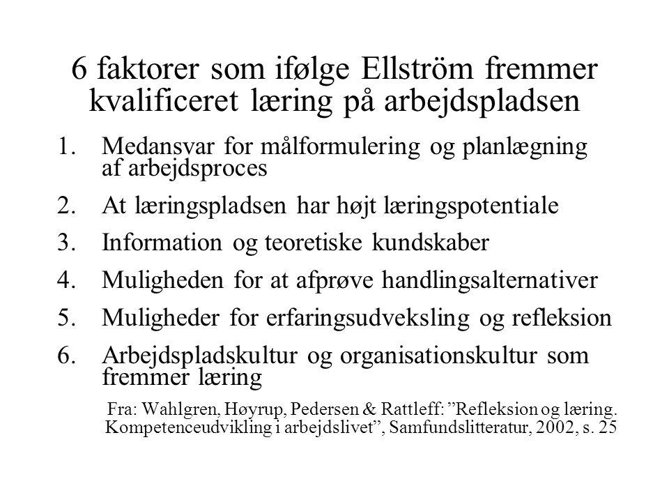 6 faktorer som ifølge Ellström fremmer kvalificeret læring på arbejdspladsen