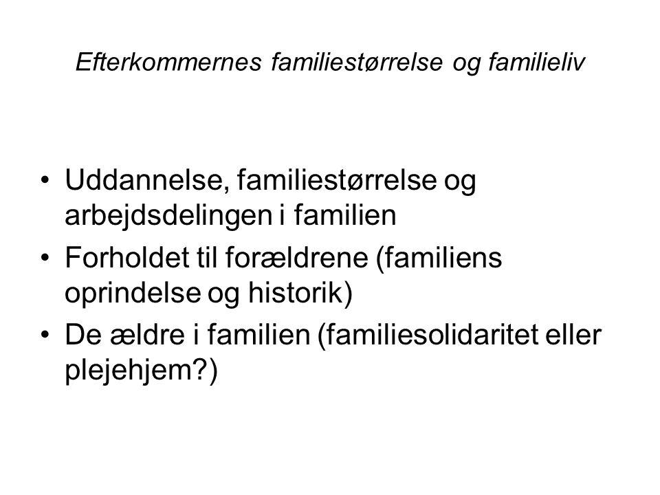 Efterkommernes familiestørrelse og familieliv