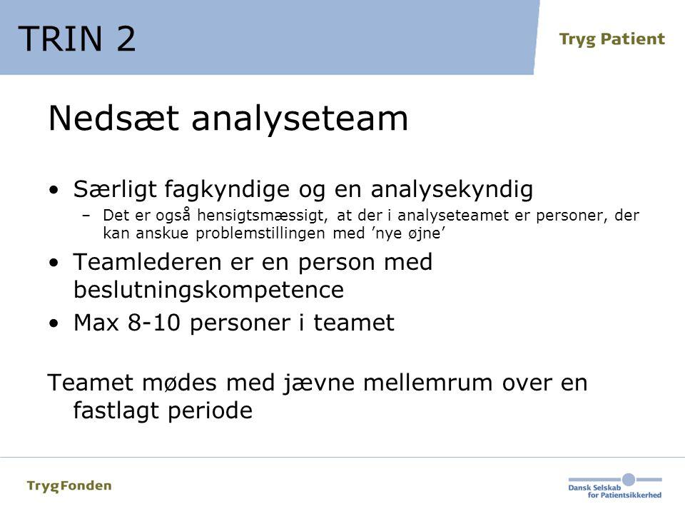 TRIN 2 Nedsæt analyseteam Særligt fagkyndige og en analysekyndig