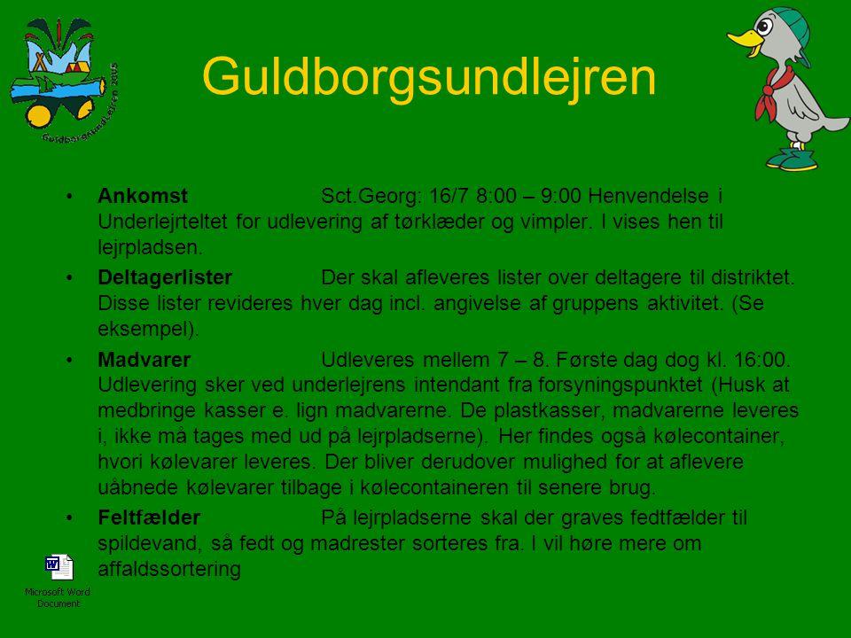 Ankomst Sct.Georg: 16/7 8:00 – 9:00 Henvendelse i Underlejrteltet for udlevering af tørklæder og vimpler. I vises hen til lejrpladsen.