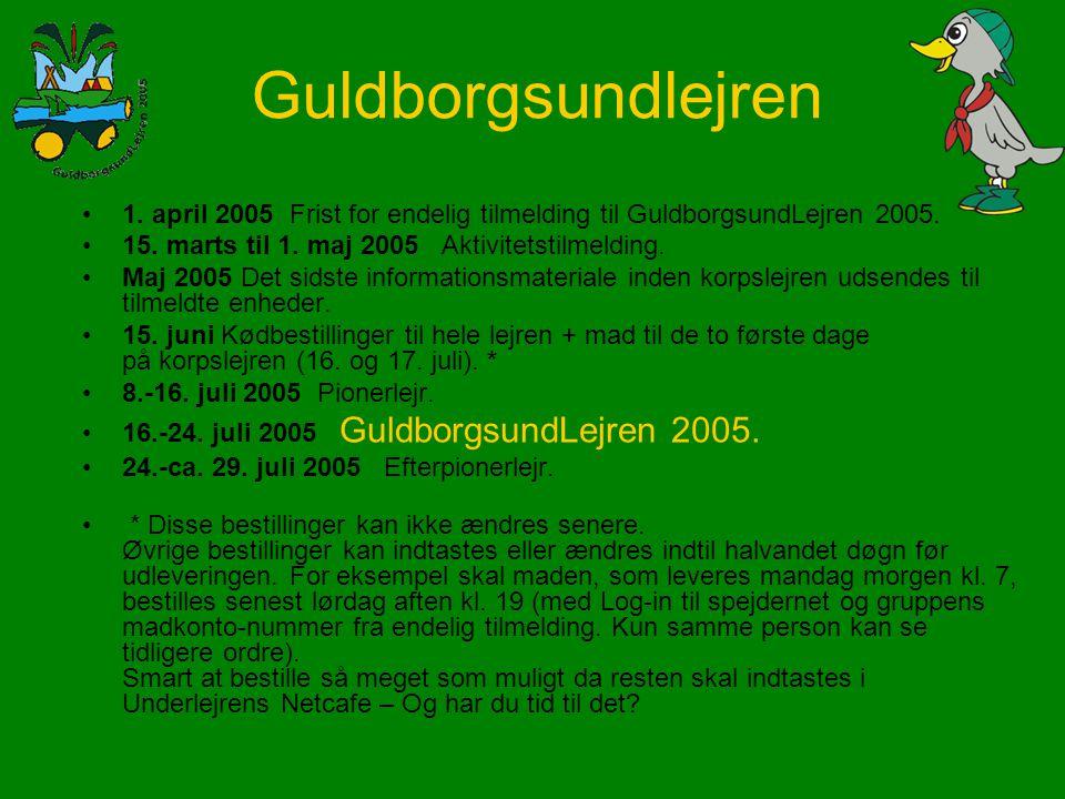 1. april 2005 Frist for endelig tilmelding til GuldborgsundLejren 2005.