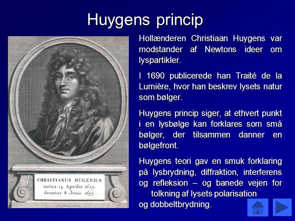 Huygens princip Hollænderen Christiaan Huygens var modstander af Newtons ideer om lyspartikler.