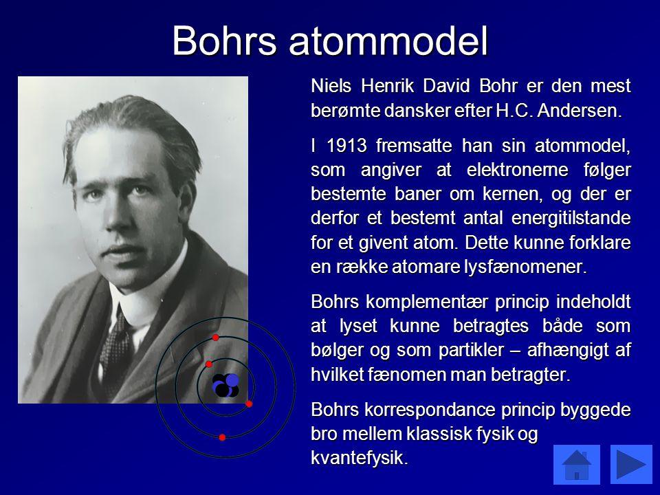 Bohrs atommodel Niels Henrik David Bohr er den mest berømte dansker efter H.C. Andersen.