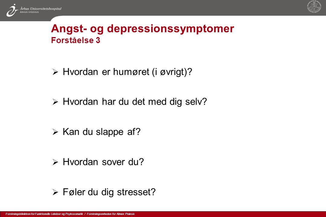 Angst- og depressionssymptomer Forståelse 3