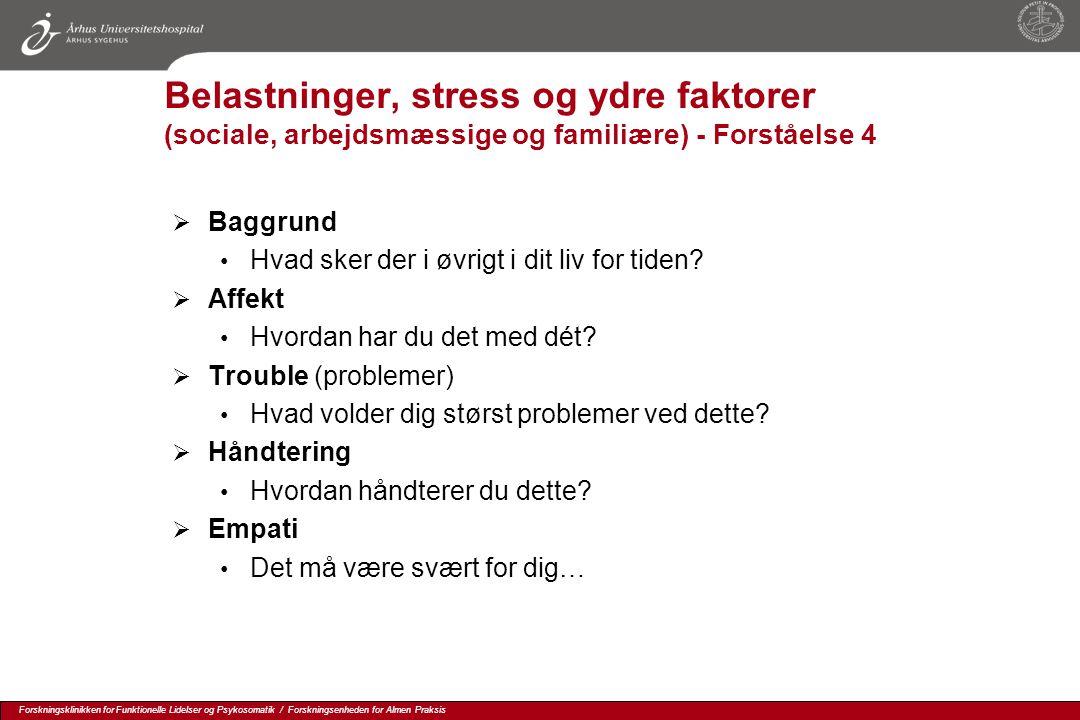 Belastninger, stress og ydre faktorer (sociale, arbejdsmæssige og familiære) - Forståelse 4