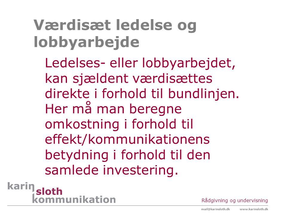 Værdisæt ledelse og lobbyarbejde