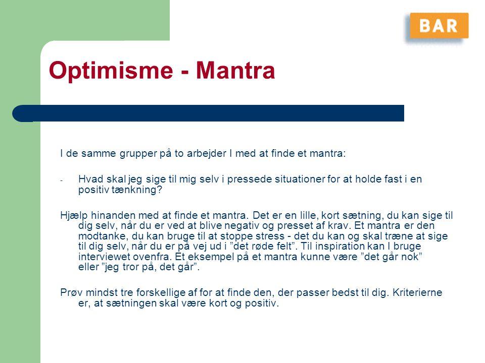 Optimisme - Mantra I de samme grupper på to arbejder I med at finde et mantra: