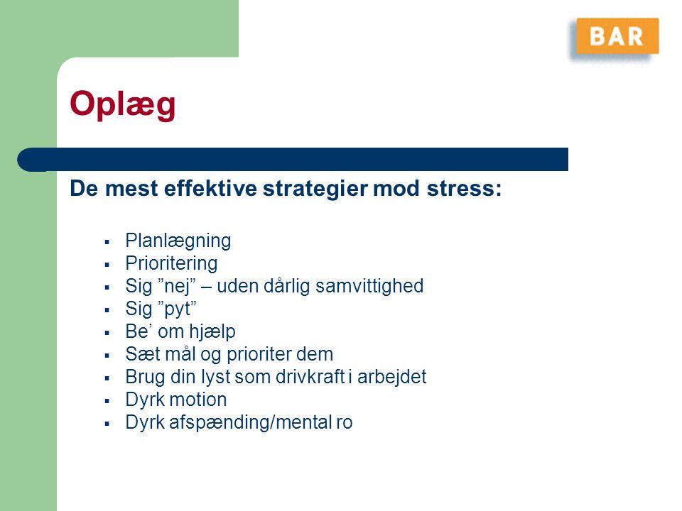 Oplæg De mest effektive strategier mod stress: Planlægning