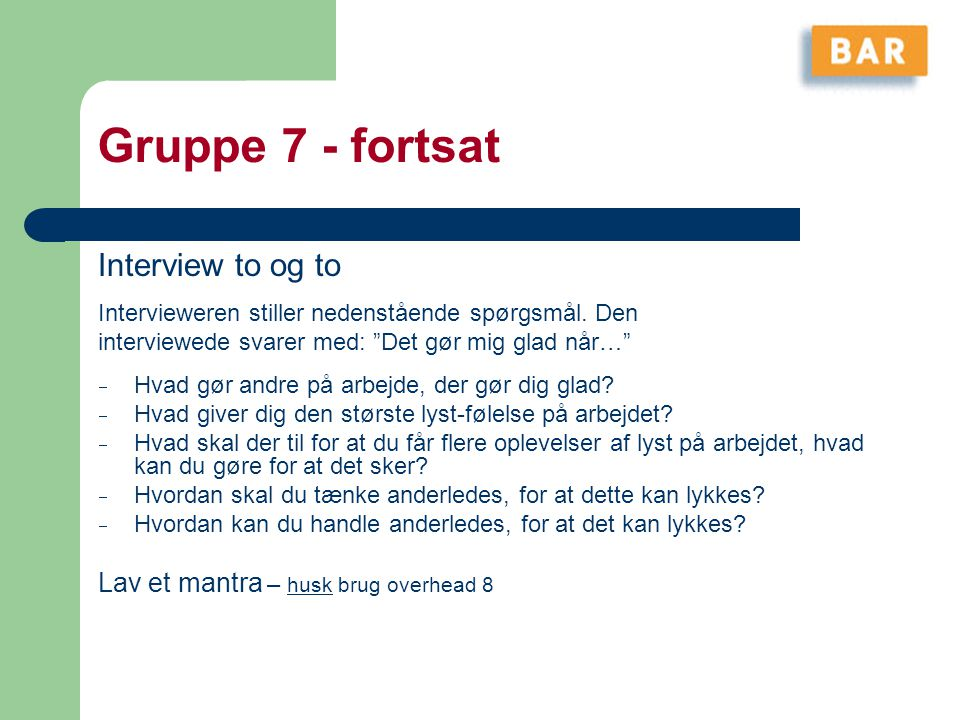 Gruppe 7 - fortsat Interview to og to