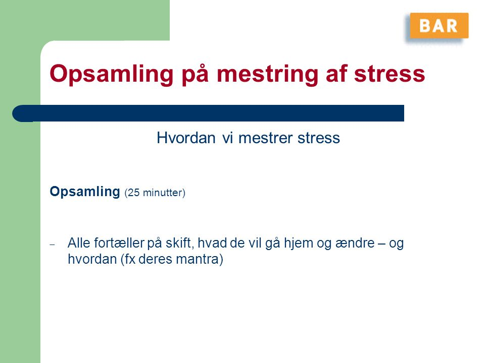 Opsamling på mestring af stress