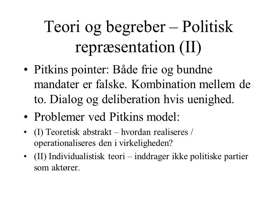 Teori og begreber – Politisk repræsentation (II)