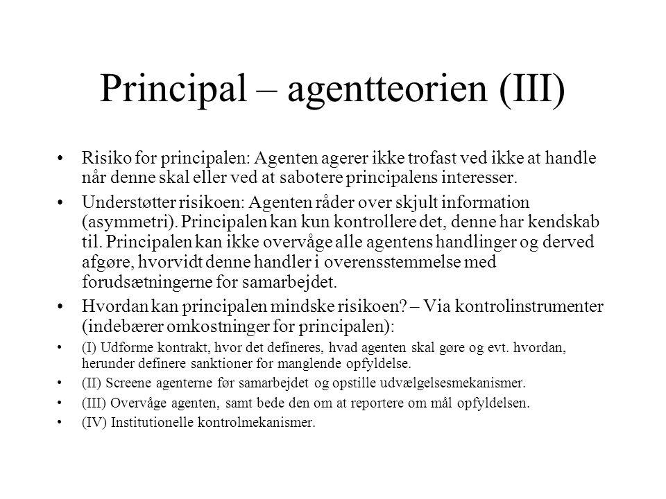Principal – agentteorien (III)