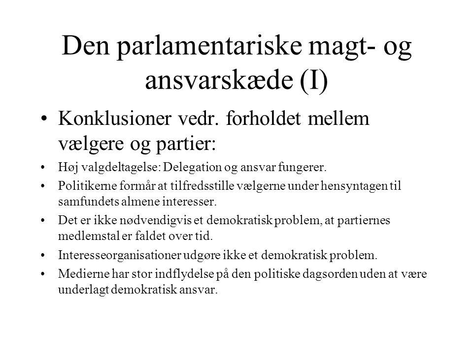 Den parlamentariske magt- og ansvarskæde (I)