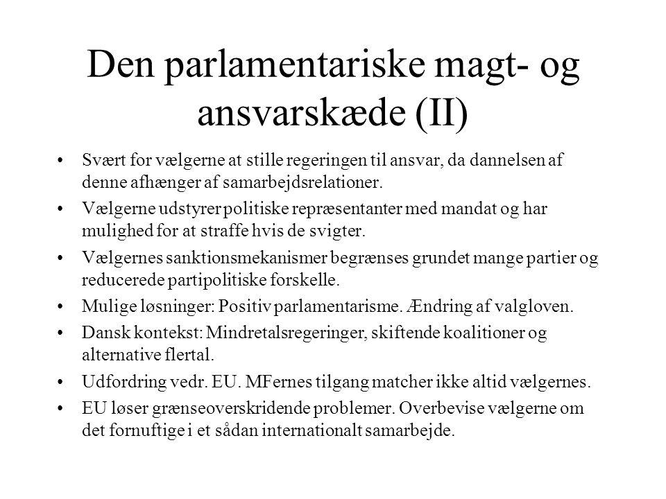 Den parlamentariske magt- og ansvarskæde (II)