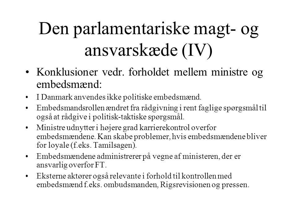 Den parlamentariske magt- og ansvarskæde (IV)