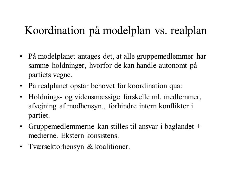 Koordination på modelplan vs. realplan