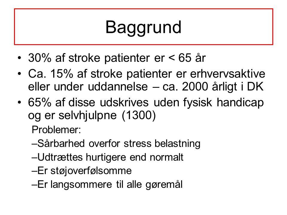 Baggrund 30% af stroke patienter er < 65 år
