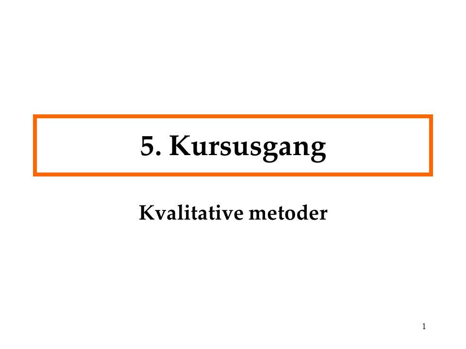 5. Kursusgang Kvalitative metoder