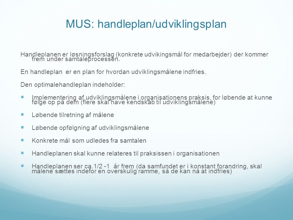 MUS: handleplan/udviklingsplan