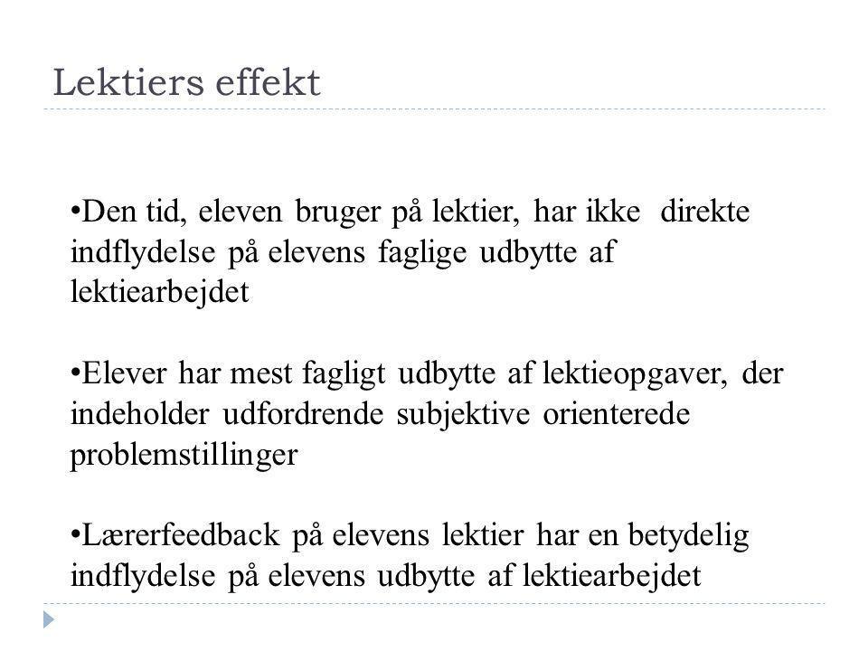 3 projekter 1. Udviklingsprojekt 1 (2004): Lektieundersøgelsen